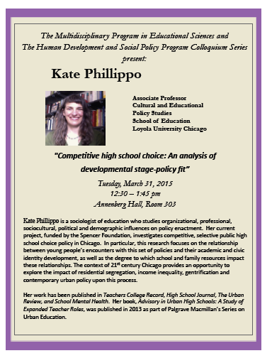 Prof. Phillippo delivers guest lecture at Northwestern on School Choice