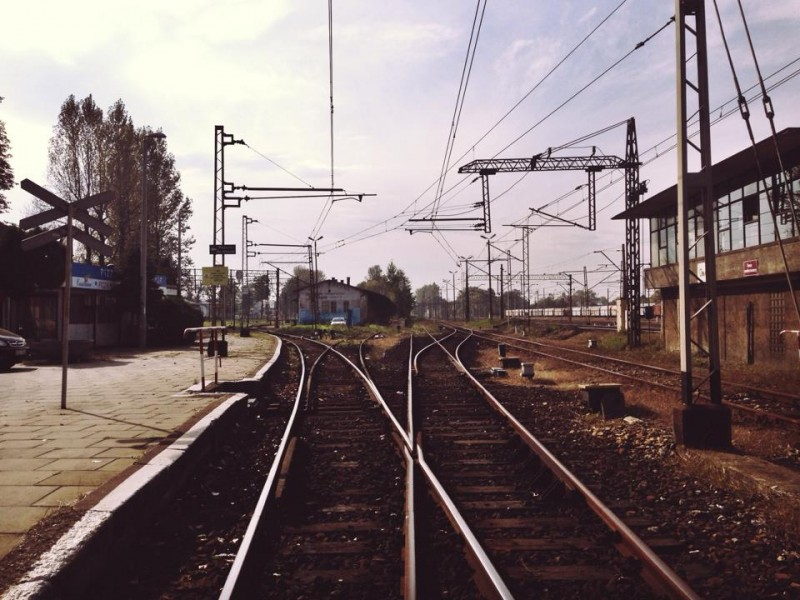 Railroads crossing in Torun, Poland