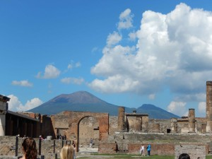 Clouds move in to cover Mt. Vesuvius and the ancient city of Pompeii.