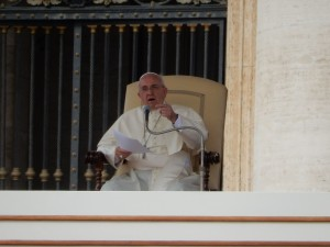 Pope Francis delivers his address to everyone watching in the Vatican.
