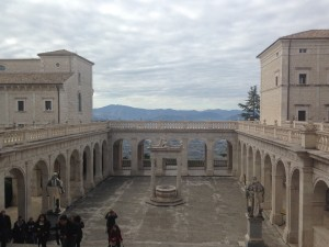 View from the central cloister of the Abbey of Montecassino