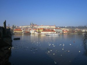 The gorgeous city of Prague seen from the Charles Bridge