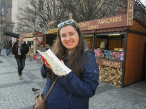 Me with a chocolate crepe. Not particularly Czech, but totally delicious!