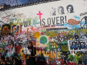 The John Lennon Wall, full of amazing art and graffiti