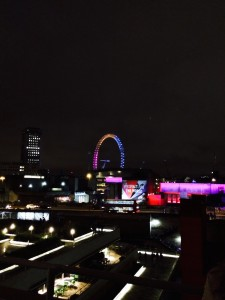 The view from the top of the National Theatre at night. Wow.