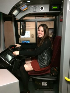"""Driving a bus"" at the transport museum!"