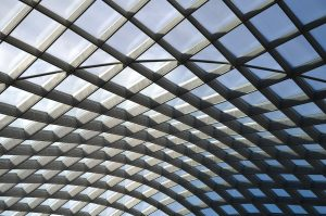 glass roof with steel frame