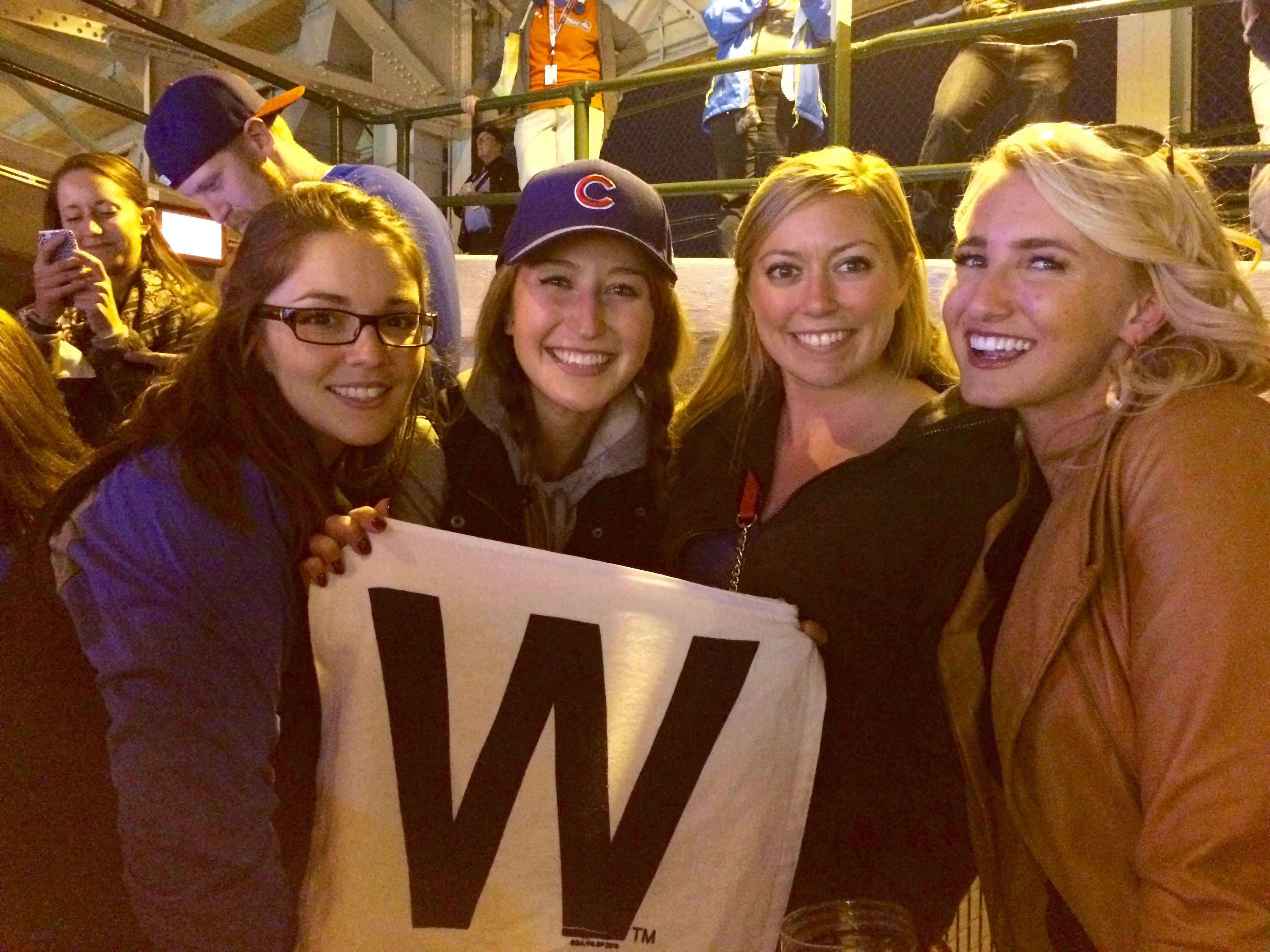 Gail Jankowski (3L), me, Emily Houtsma (3L) and Kelly Cannon (3L) cheering on the Cubs at Wrigley during game 4 against the Cardinals!