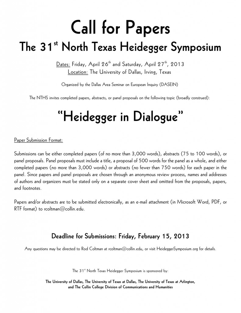 CFP 2013 North Texas Heidegger Symposium