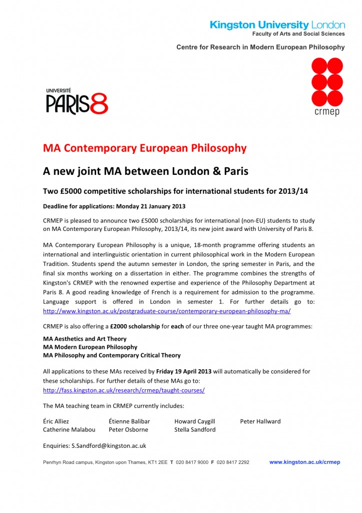 CRMEP/Université Paris 8 offering scholarships for their MA Contemporary European Philosophy