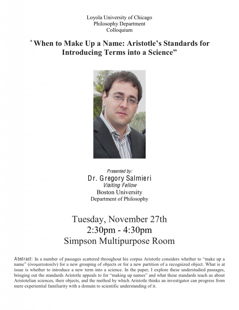 Colloquium by Dr. Gregory Salmieri on Aristotle's scientific terms, Nov. 27