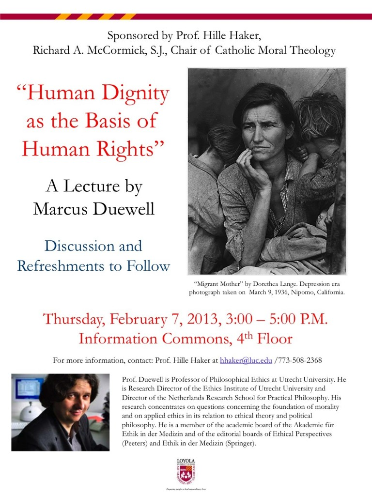 """Lecture: Marcus Duewell, """"Human Dignity as the Basis of Human Rights,"""" Loyola, Feb. 7"""