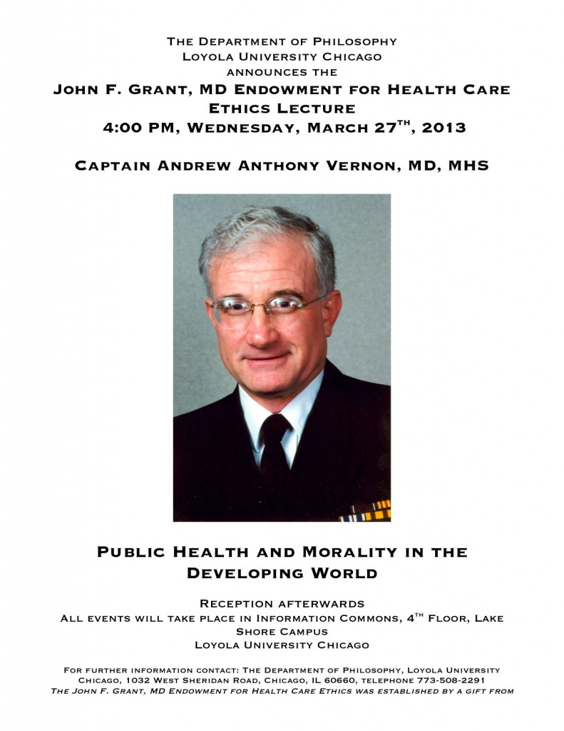 """Cpt. Andrew Anthony Vernon, MD, MHS, """"Public Health & Morality in the Developing World,"""" Loyola, March 27"""