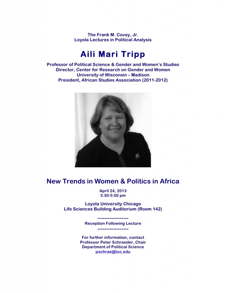 "Lecture: Dr. Aili Mari Tripp on ""New Trends in Women and Politics in Africa,"" Loyola, April 24"