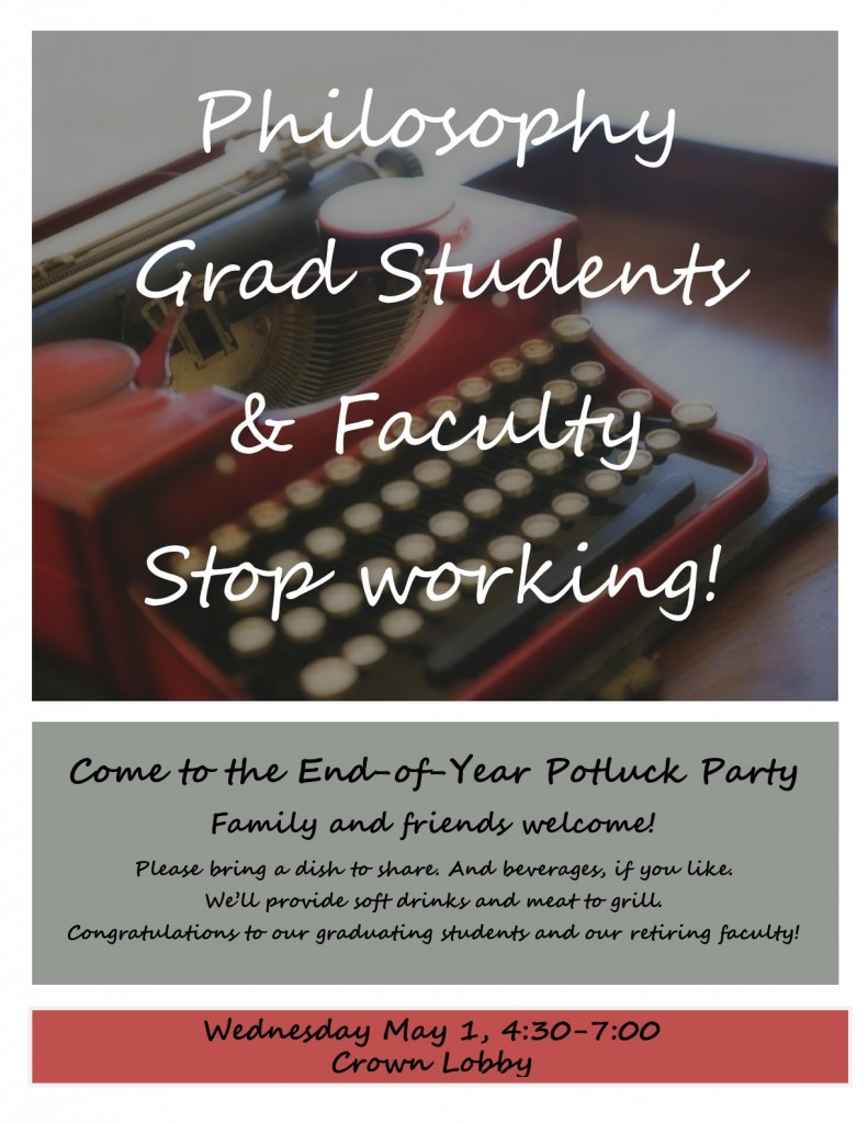 Grad Student & Faculty Pot-luck next Wednesday at 4:30!