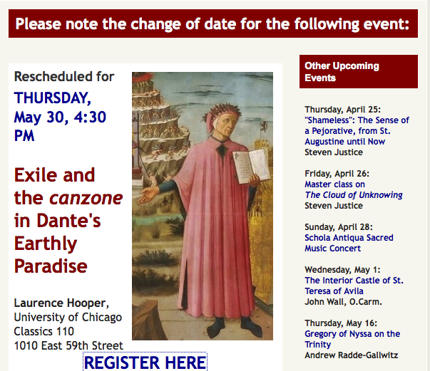 Dante Lecture rescheduled for May 30th