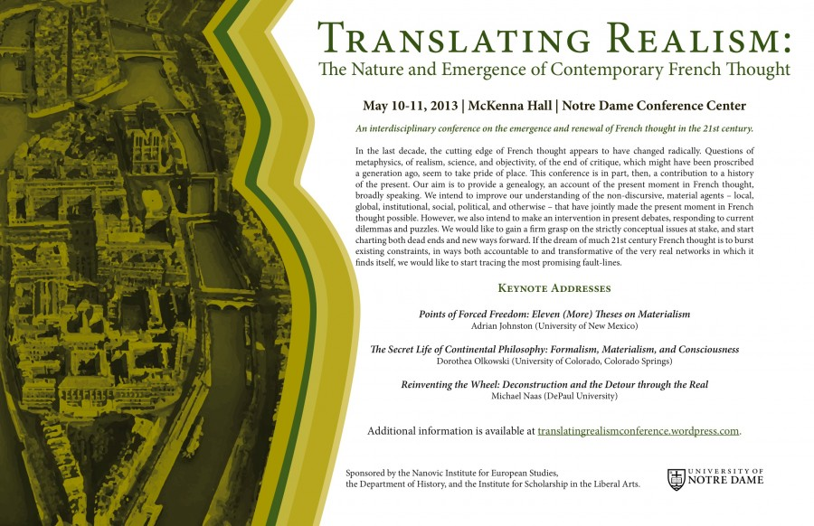 Conference: Translating Realism: The Nature and Emergence of Contemporary French Thought, Notre Dame, May 10-11