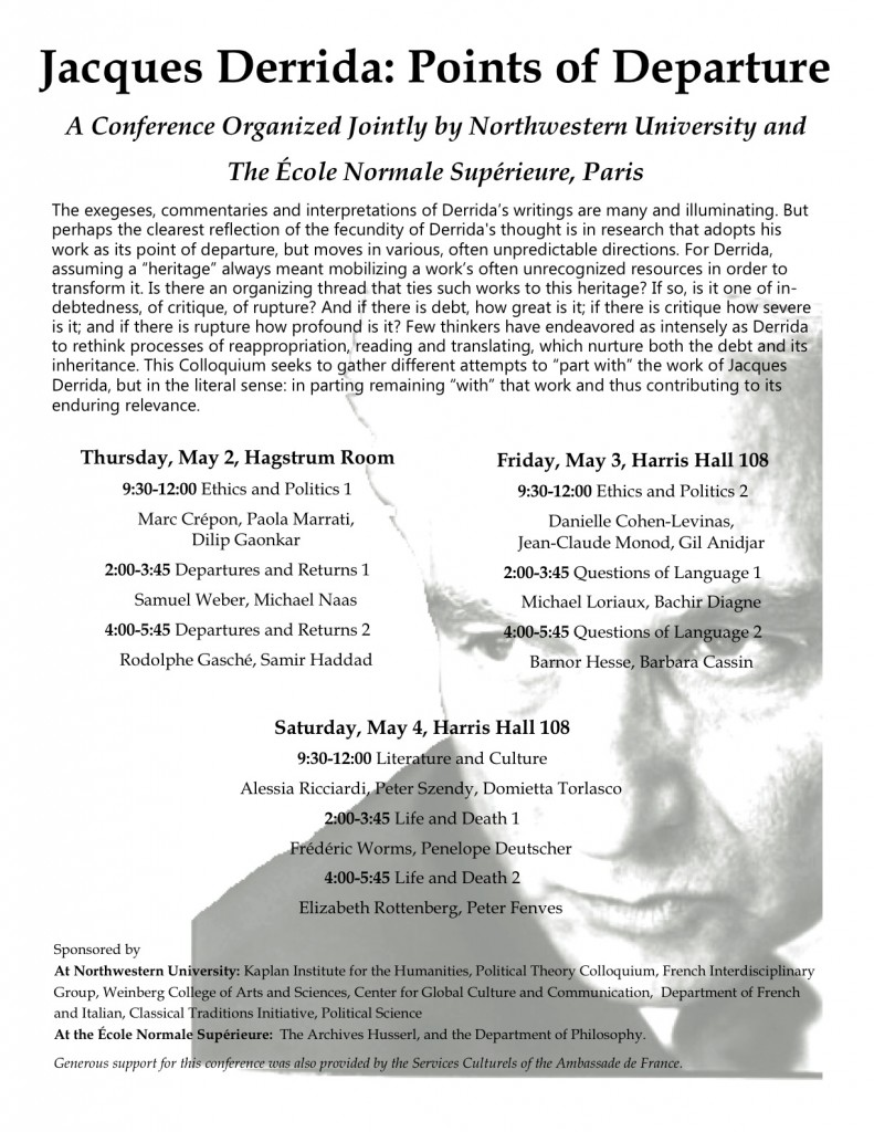 Jacques Derrida: Points of Departure, Northwestern, May 2-4