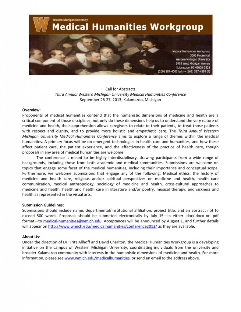 CFA WMU Bioethics/Medical Humanities Conference, Sept. 26-27
