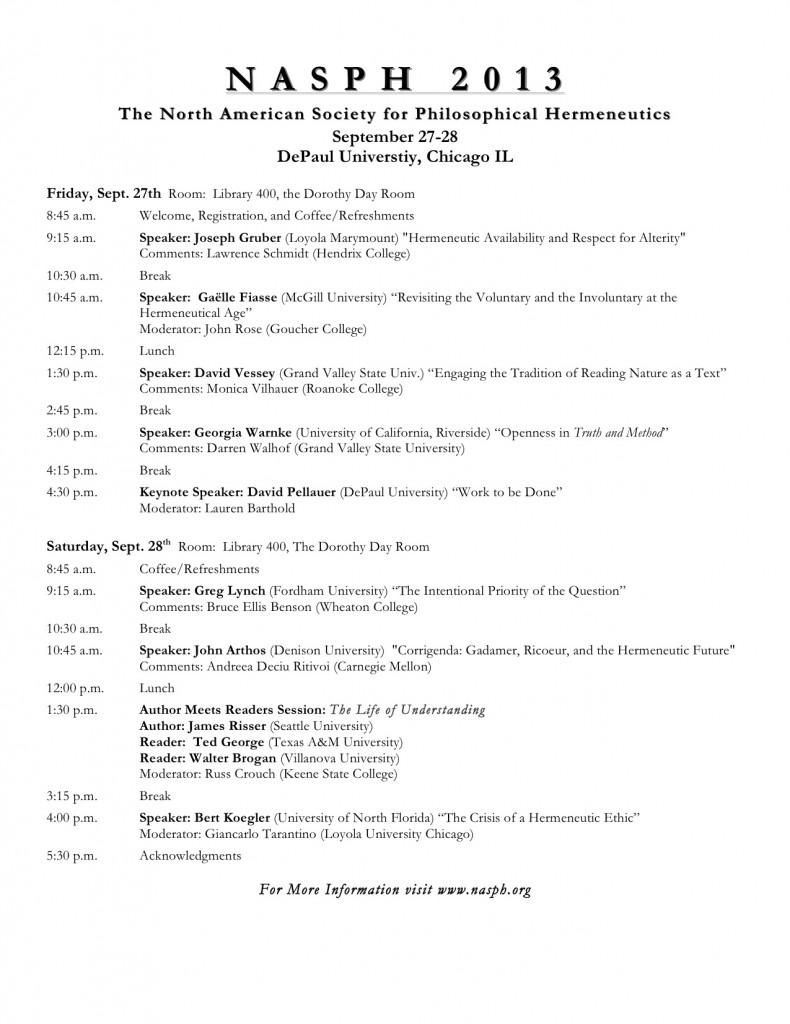 North American Society for Philosophical Hermeneutics Annual Conference, DePaul, Sept. 27