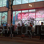 Protesters outside of Walgreens