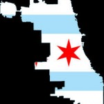 Chicago Map with Superimposed flag