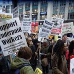 Protesters fighting for underpaid workers