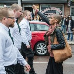 Tess Asplund, who was photographed with fist raised in lone protest against far-right activists, says she acted on impulse