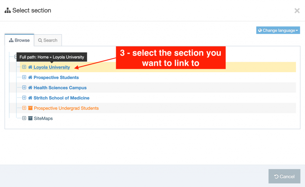 How To Add A Section Link