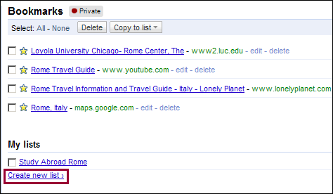Get Organized with Google Bookmark Lists