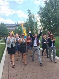 The Dean of Students, Director of ALumni Relations, Student Body President, and Director of Undergraduate Admission lead the Class of 2019 through the convocation walk around campus.
