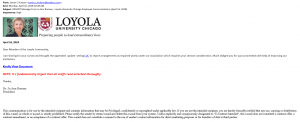 """""""Office of the President – Loyola University Chicago Employee Communications"""" – Phishing Scam – March 28, 2018"""